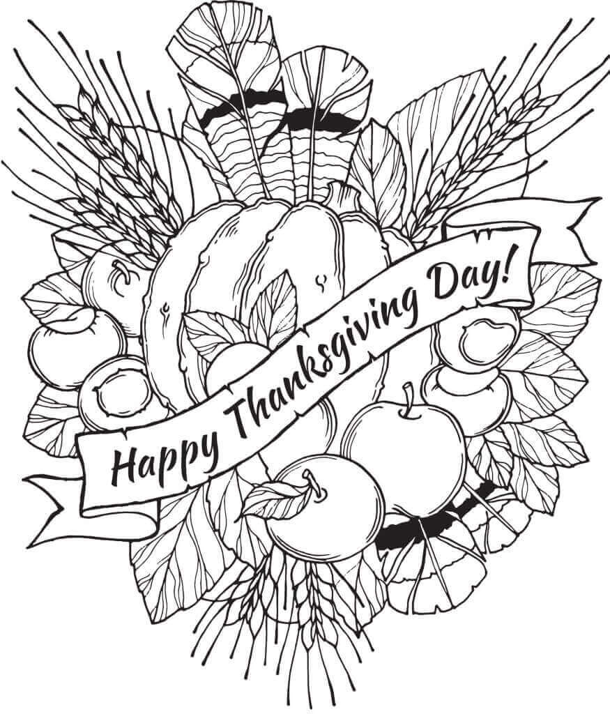 Happy Thanksgiving Day 2018 Coloring Pages