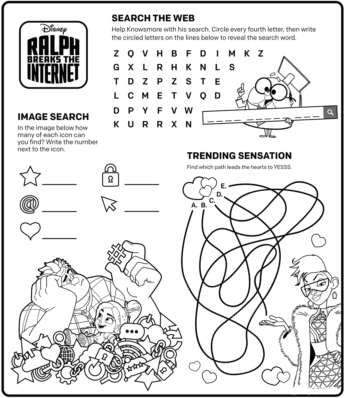 Ralph 2 Activity Sheets Printable