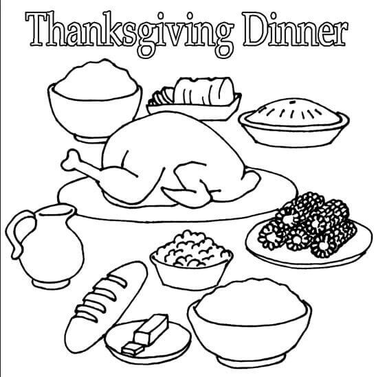 Thanksgiving Dinner 2018 Coloring Page
