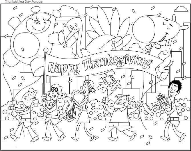 Thanksgiving Parade 2018 Coloring Page