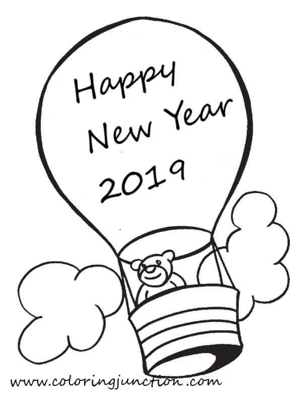 2019 New Year Coloring Sheets Printable