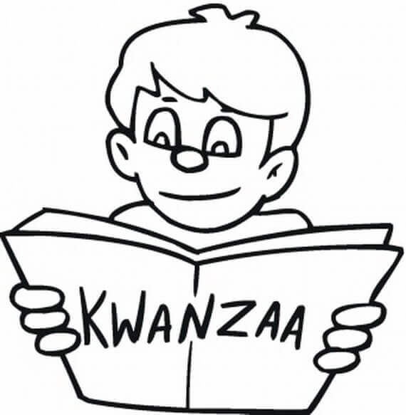Boy Reading About Kwanzaa Coloring Page