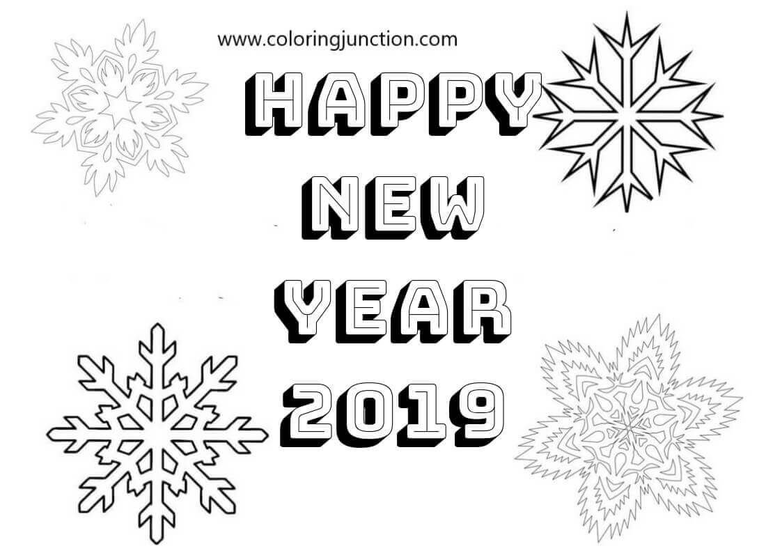 Free Printable New Year 2019 Coloring Pages