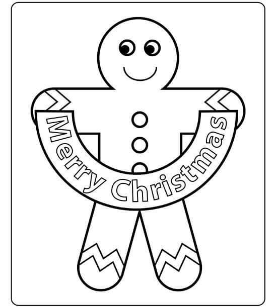 Gingerbread Man Wishing Merry Christmas Coloring Page
