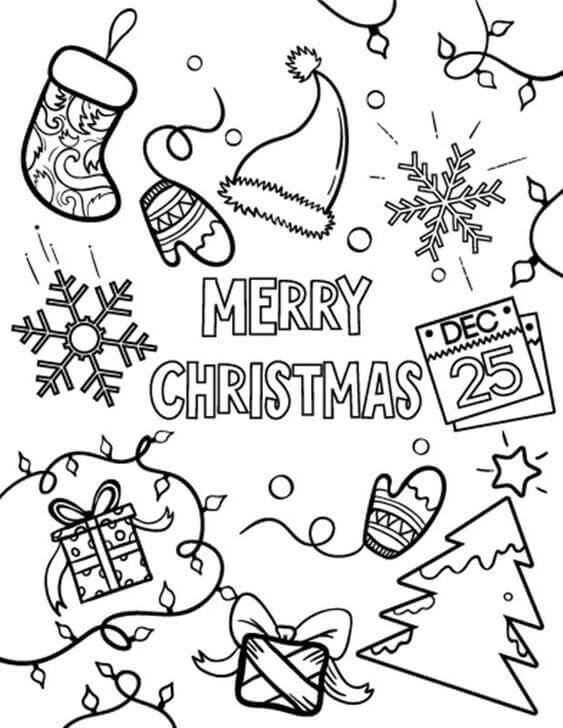 Happy Christmas Coloring Pages Printable