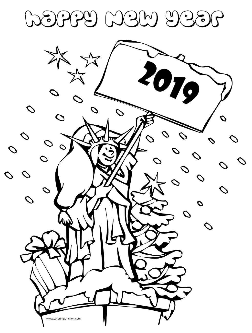 Happy New Year 2019 Coloring Sheets To Print