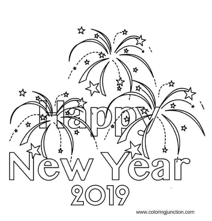 New Year 2019 Coloring Images Printable