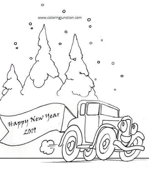 New Year 2019 Coloring Images