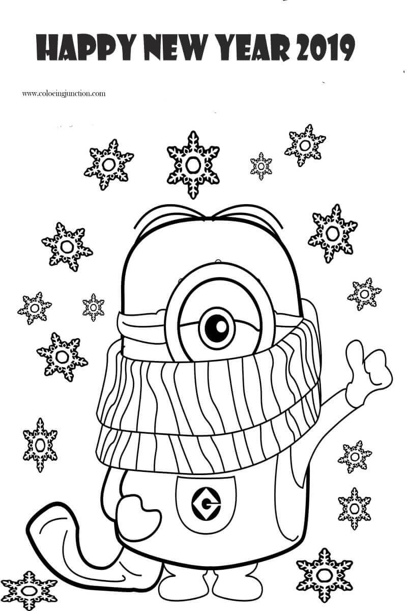 New Year 2019 Coloring Pictures