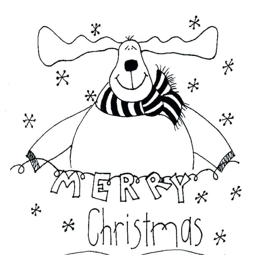 Reindeer Wishing Merry Christmas Coloring Picture
