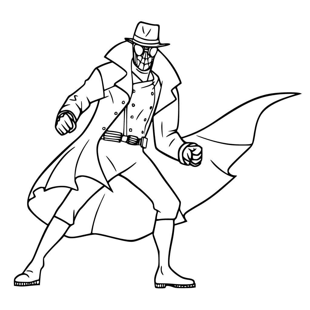 Noir From Spider Man Into the Spider Verse Coloring Page
