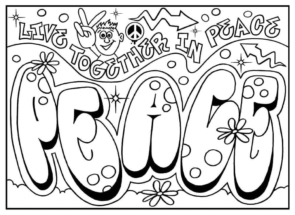 Graffiti Coloring Page for adults